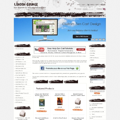 London grunge zen cart zen cart templates for Free responsive zen cart templates