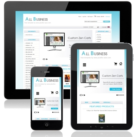 Responsive Mobile Friendly Zen Cart Template All Business