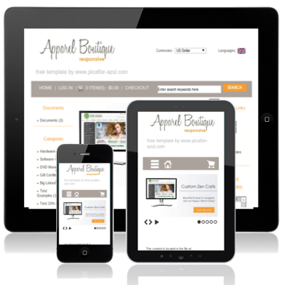 Mobile responsive zen cart template apparel boutique for Free responsive zen cart templates