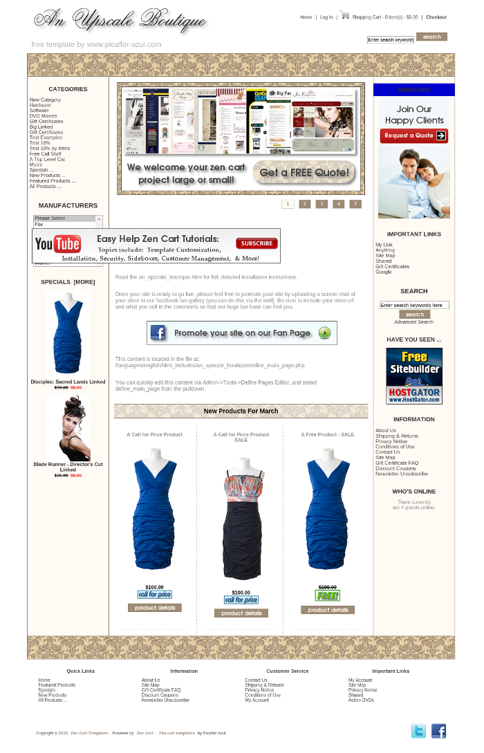 free responsive zen cart templates - an upscale boutique zen cart templates it 39 s free